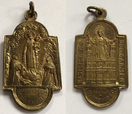 Large Rare Antique Holy Medal Virgin Mary Jesus Saint Dominic St. Rose Of Lima
