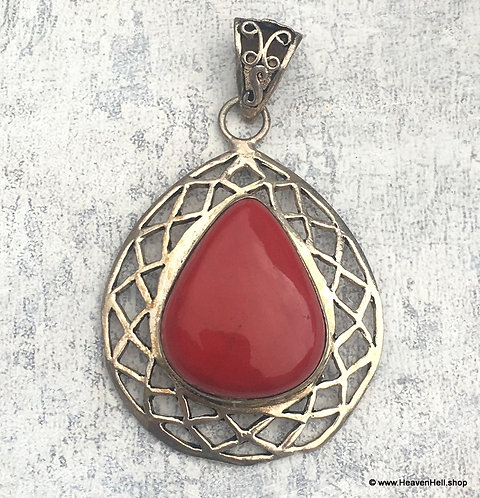 Red Jasper Teardrop Pendant Sterling Silver Jewelry, Personal Power Jewelry