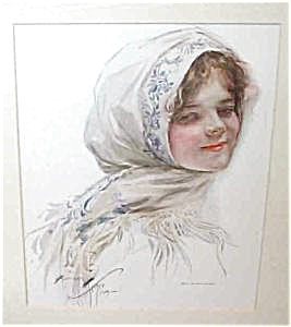 Harrison Fisher Victorian Antique Art Print: Lady In Head Scarf