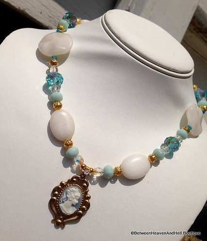 Repurposed Victorian Lady Cameo Necklace Amazonite, Quartz, Lampwork