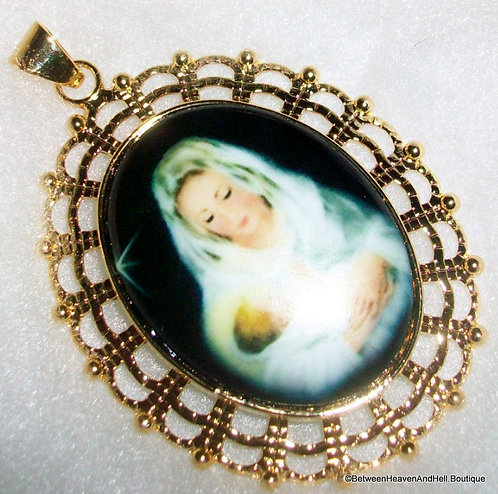Large Madonna And Child Porcelain Cameo Pendant Virgin Mary Jesus