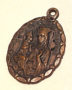 Vintage Catholic Silvered Brass Saint Anne Virgin Mary Medal