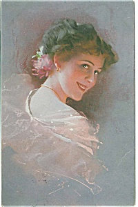 Artist Signed Postcard Knoefel Victorian Glamour Lady In Pink