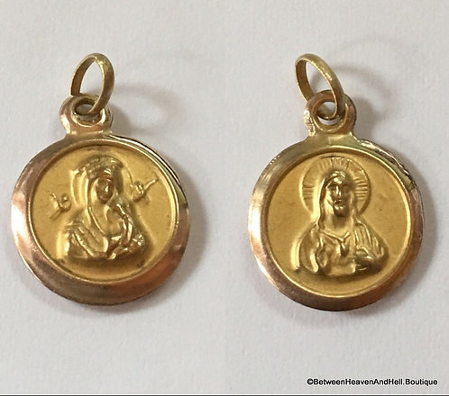 Tiny 10k Gold Scapular Sacred Heart and Perpetual Help Medal Religious Jewelry