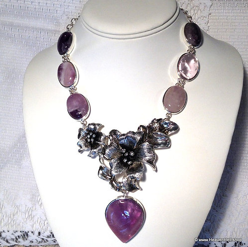 Large Vintage Amethyst Gemstone Necklace BOHO Silver Statement Jewelry