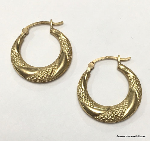 Vintage 14k Yellow Gold Hoops Classy 14k Hoop Earrings, Vintage gold jewelry