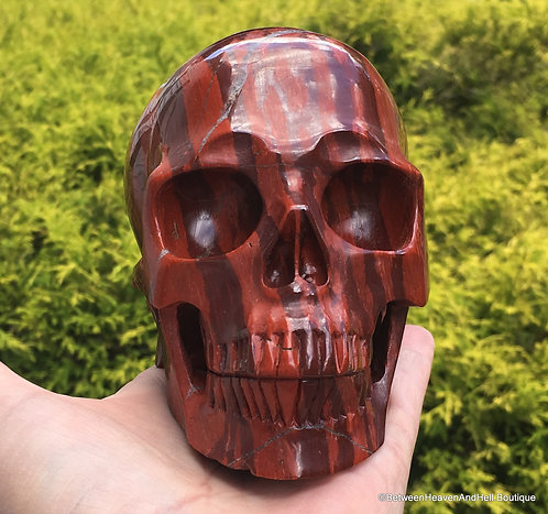 "5"" Large Activated Crystal Skull Banded Red Snakeskin Jasper w/ Hematite"
