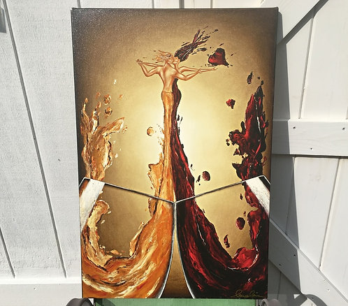 Wine Art Giclee Romance Canvas Painting Leanne Laine Red Gold