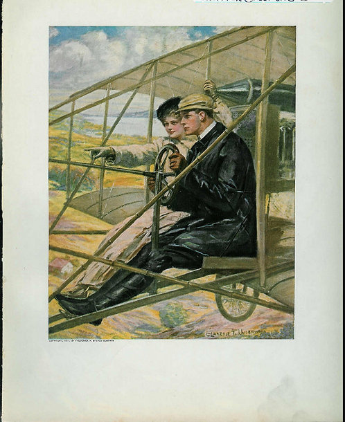 1911 Vintage Art Print Antique Airplane Flying Romance: Clarence Underwood Artwo