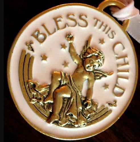 Religious Baby Girl Pink Crib Medal Medallion Bless This Child