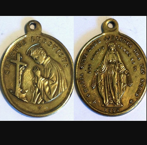 Large 1800's Antique Religious Holy Medal Saint Louis Ludovicus Miraculous Medal