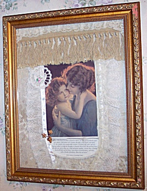 Victorian Art Print Collage Assemblage Mother & Daughter, Handcrafted Decor