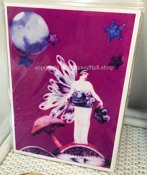5x7 Abundance Spell Full Moon Fairy Print Moonlight Art Deco Style Wall Decor