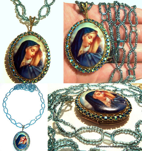 Vintage Our Lady of Sorrows Cameo Locket Rhinestone Beaded Necklace