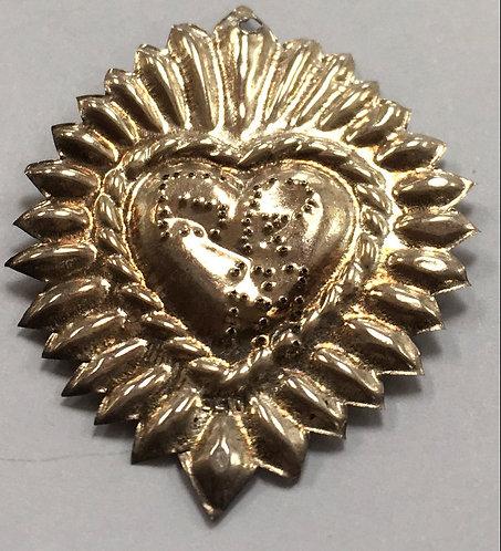 Antique Catholic Devotional Sterling Ex-voto Milagro Sacred Flaming Heart