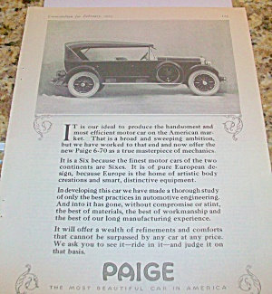 Vintage Paige 6-70 Automobile Car Ad 1923