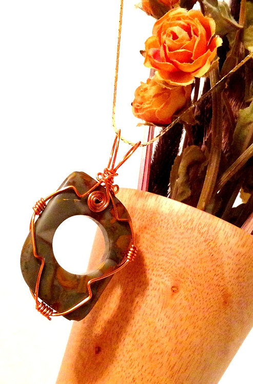 Handcrafted OOAK Rhyolite Jasper Gemstone Copper Tone Wire Wrapped Pendant
