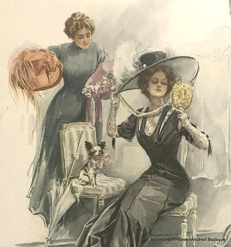 Original Vintage Print Harrison Fisher American Girl in France Edwardian Lady
