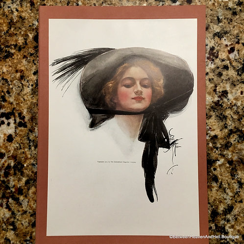 Vintage Harrison Fisher Edwardian Woman in Big Feathered Hat, Wall Decor
