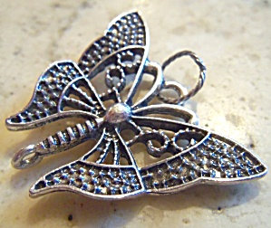 Silver Filigree Butterfly Charm Pendant