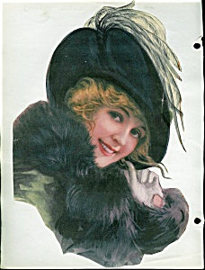 Victorian Scrapbook Page Lady In Fur Feather Hat Print
