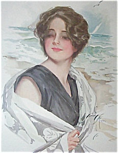 Antique Harrison Fisher Prints: Beach Lady, On The Sands