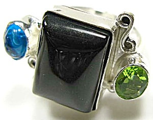 Multi Gem Black Onyx Ring 7.5: Sterling Silver