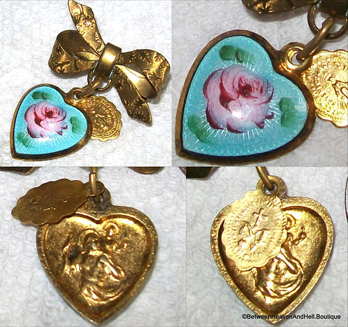 St. Christopher Miraculous Medal Pink Rose Guilloche Heart Pin Religious Jewelry