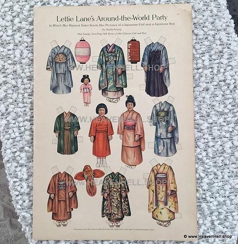 Vintage 1910 Uncut Lettie Lane Paper Dolls Japanese Kids Sheila Young