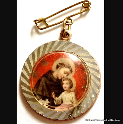 Religious Jewelry, Vintage Saint Anthony Child Jesus Dangle Pin