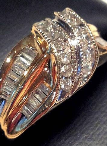 Vintage 14k Gold Diamond Band Ring - Round & Channel Set Baguette Stones Size 7