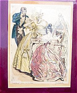 Pen Ink Watercolor Painting Victorian Vanity Bedroom Scene
