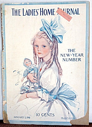 Antique Ladies Home Journal Cover Harrison Fisher Girl With Doll