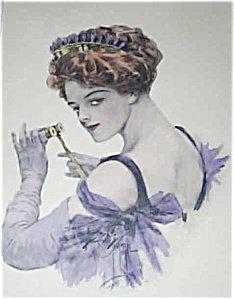 Harrison Fisher Hand Colored Print Opera Lady