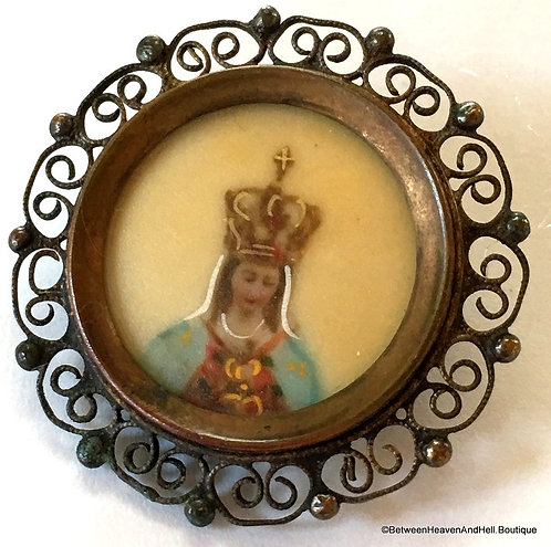 Antique Handpainted Our Lady Of Fatima Brooch Pin, Religious Christian Jewelry