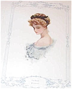 Antique Print Victorian Blonde Lady In Blue Harrison Fisher