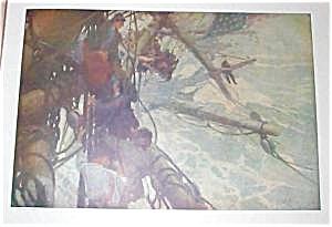 W.j. Aylward Vintage Print The Breeches Buoy Sea Captain
