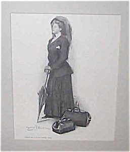 Clarence Underwood Victorian Print: Lady W/ Parasol Going On Vacation