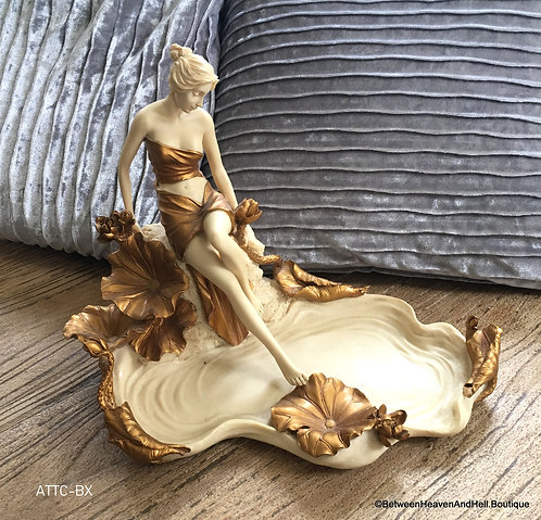 Art Nouveau Woman Sculpture Water Lilly Pond Nymph Fairy Trinket Tray Home Decor
