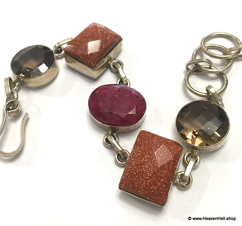 Vintage Ruby Smoky Quartz Goldstone Bracelet Sterling Silver Power Jewelry