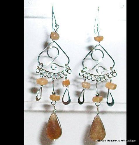 """Handmade Sexy 3"""" Tan teardrop Jasper & Agate Long Dangle Silver Earrings"""