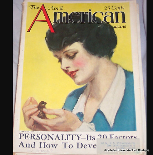 1924 Complete American Magazine, Cover Art by Clarence Underwood Lady & Bird