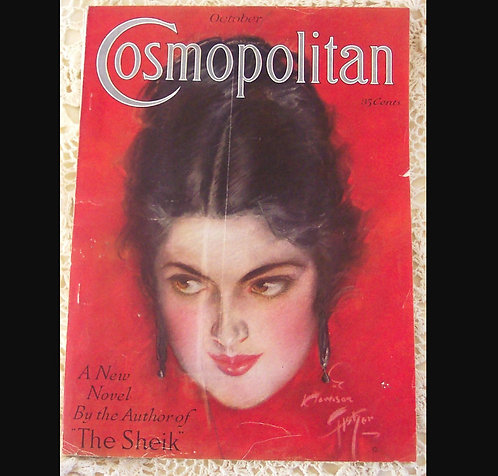 1922 Vintage Harrison Fisher Cosmopolitan Magazine Cover Art Wicked Woman