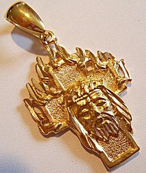 Large Jesus Christ Crown Of Thorns Cross Pendant