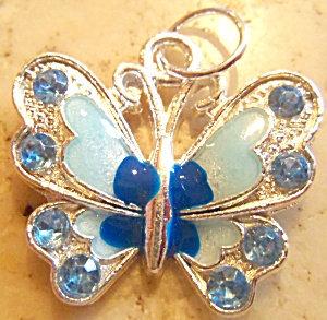 Rhinestone Blue Enamel Butterfly Pendant Silver