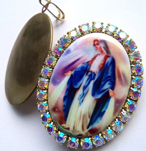 Our Lady Of Grace Miracles Prayer Locket Virgin Mary Pendant Remembrance Jewelry
