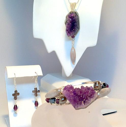 BOHO Jewelry Set Cross Earrings, Amethyst Druzy Cluster Cuff Bracelet & Pendant