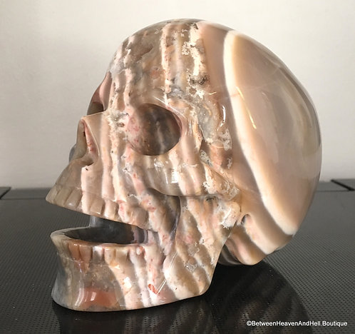 "5.2"" Rare Large Banded Pink Botswana Agate Singing Crystal Skull, New Beginnings"