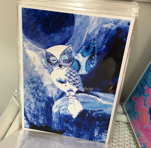 Wise Owl Print, Full Moon Wiccan Art 5x7, Midnight Moonlight Collection