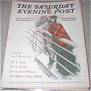 1907 Saturday Evening Post Magazine Harrison Fisher Cruise Ship